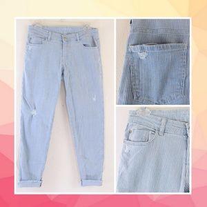 Zara Stretch Cropped Striped Blue Jeans Distressed
